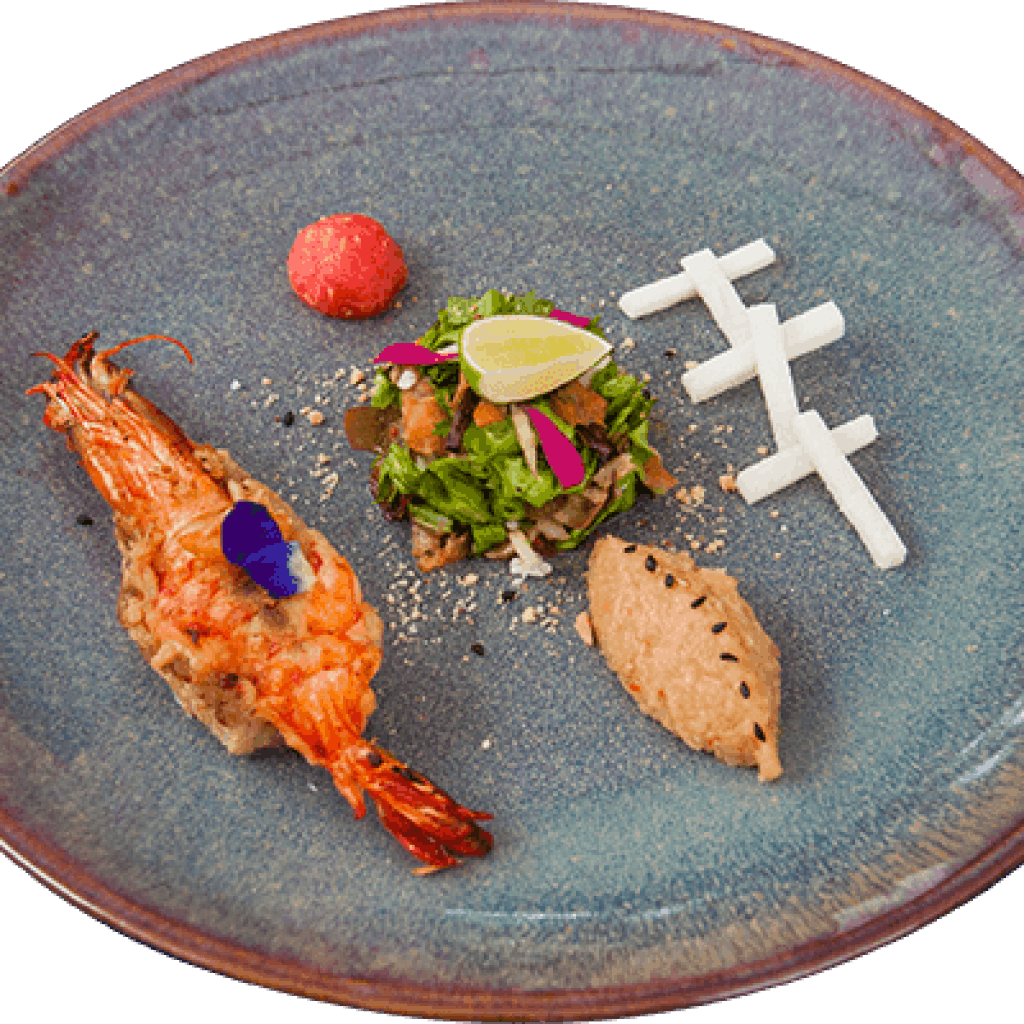 Grilled fresh river prawn salad